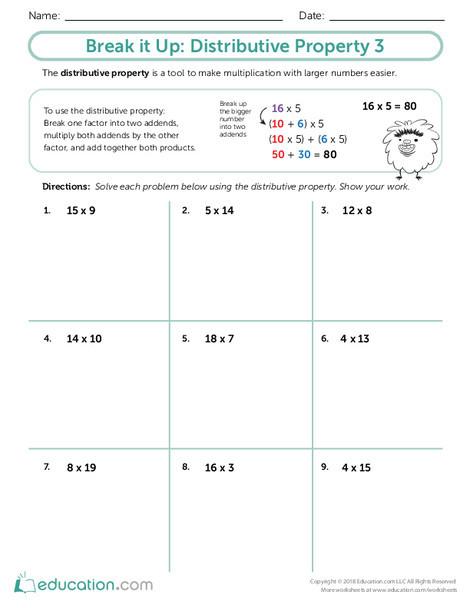 Third Grade Math Worksheets: Break it Up: Distributive Property 3