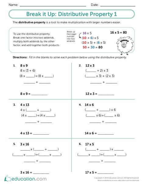 Third Grade Math Worksheets: Break it Up: Distributive Property 1