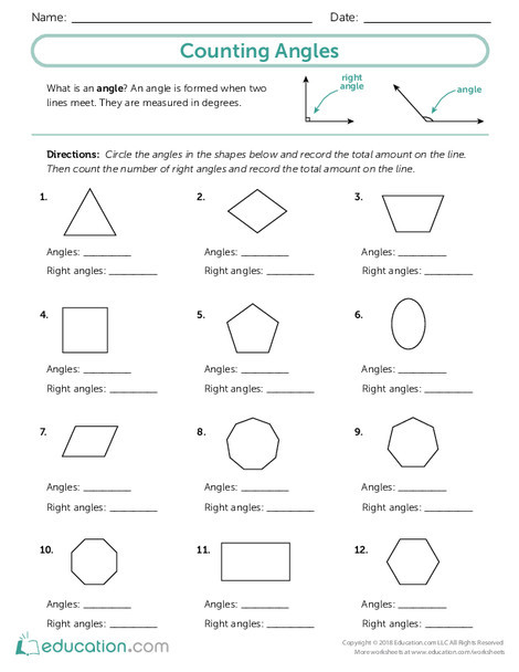 Third Grade Math Worksheets: Counting Angles
