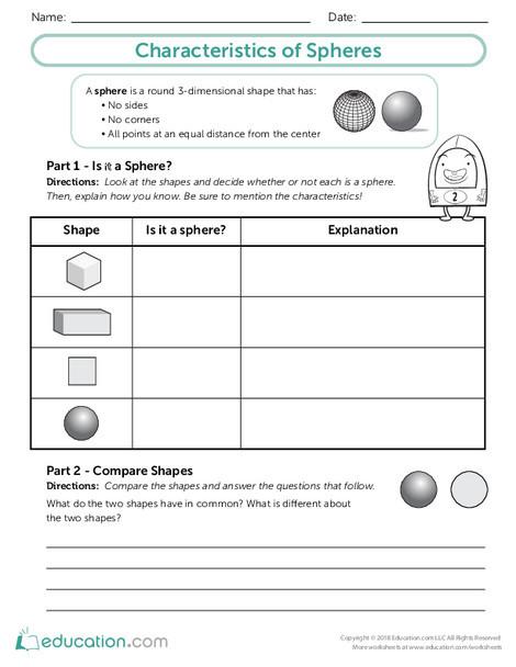Third Grade Math Worksheets: Characteristics of Spheres
