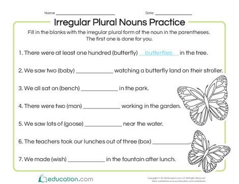 Second Grade Reading & Writing Worksheets: Irregular Plural Nouns Practice