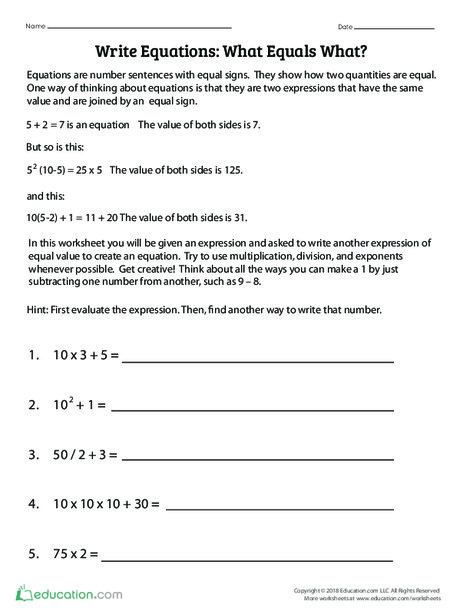Fifth Grade Math Worksheets: Write Equations: What Equals What?