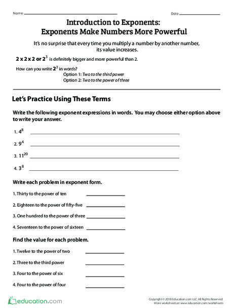 Fifth Grade Math Worksheets: Introduction to Exponents: Exponents Make Numbers More Powerful