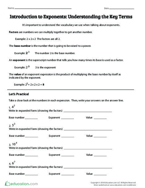 Fifth Grade Math Worksheets: Introduction to Exponents: Understanding Key Terms