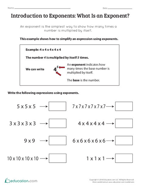 Fifth Grade Math Worksheets: Introduction to Exponents: What Is an Exponent?