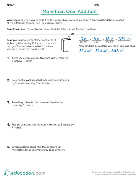 Fifth Grade Math Worksheets: More than One: Addition