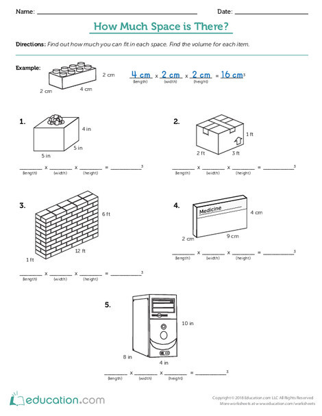 Fifth Grade Math Worksheets: How Much Space Is There? (Part One)