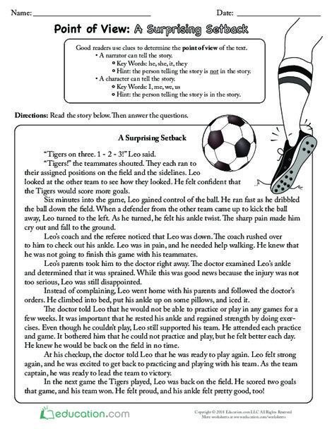 Third Grade Reading & Writing Worksheets: Point of View: A Surprising Setback
