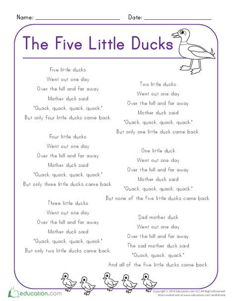 Kindergarten Reading & Writing Worksheets: Five Little Ducks