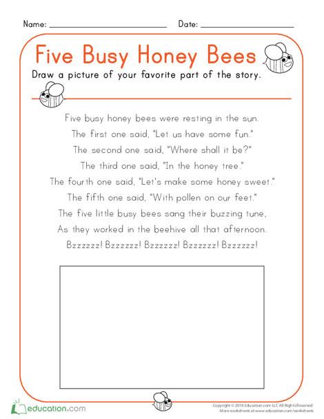 Kindergarten Reading & Writing Worksheets: Five Busy Honey Bees
