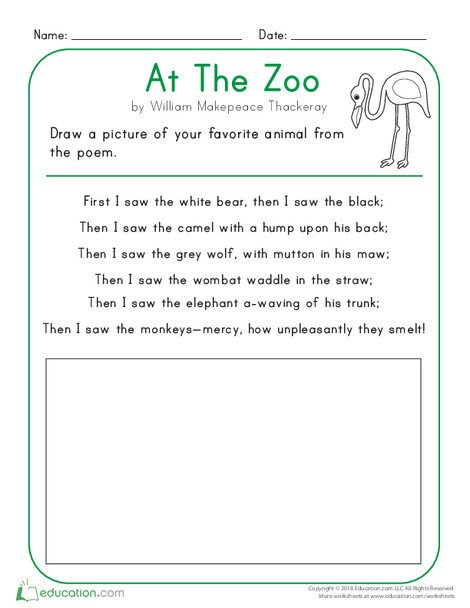 Kindergarten Reading & Writing Worksheets: At the Zoo