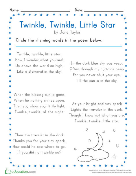Kindergarten Reading & Writing Worksheets: Twinkle, Twinkle, Little Star