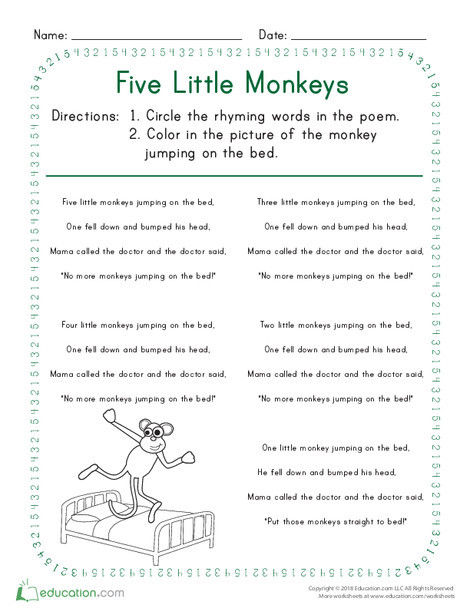 Kindergarten Reading & Writing Worksheets: Five Little Monkeys