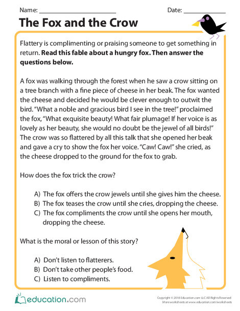Second Grade Reading & Writing Worksheets: The Fox and the Crow