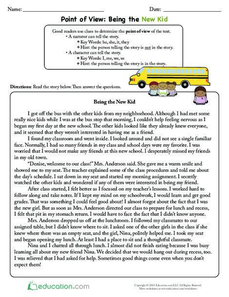Third Grade Reading & Writing Worksheets: Point of View: Being the New Kid