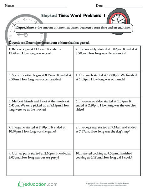 Third Grade Math Worksheets: Elapsed Time Word Problems 1