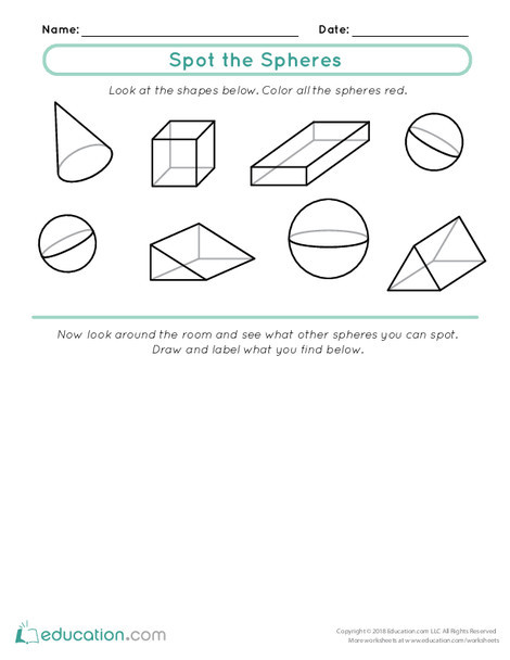 First Grade Math Worksheets: Spot the Spheres