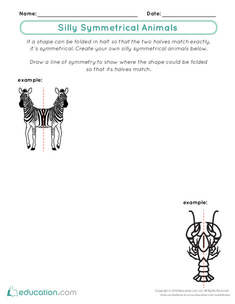 First Grade Math Worksheets: Silly Symmetrical Animals