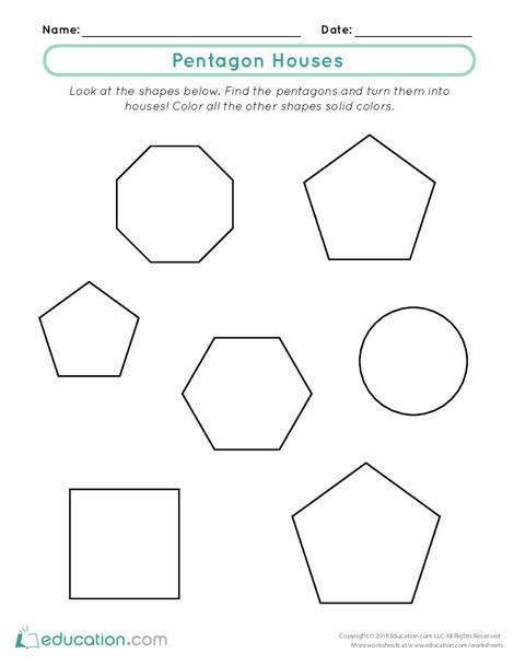 First Grade Math Worksheets: Pentagon Houses