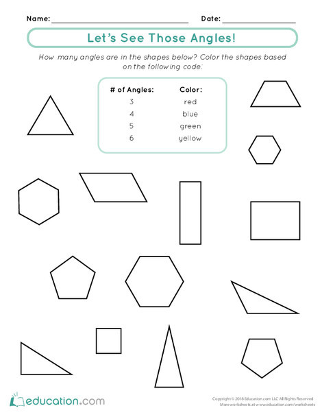 First Grade Math Worksheets: Let's See Those Angles!