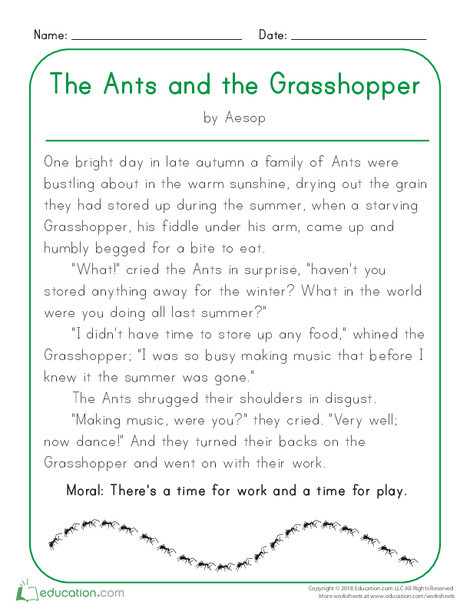 Kindergarten Reading & Writing Worksheets: The Ants and the Grasshopper