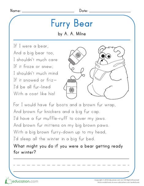 Kindergarten Reading & Writing Worksheets: Furry Bear