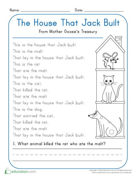 Kindergarten Reading & Writing Worksheets: The House that Jack Built