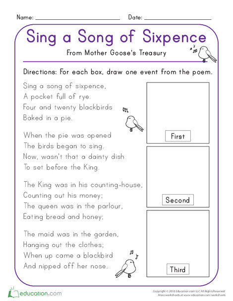 Kindergarten Reading & Writing Worksheets: Sing a Song of Sixpence