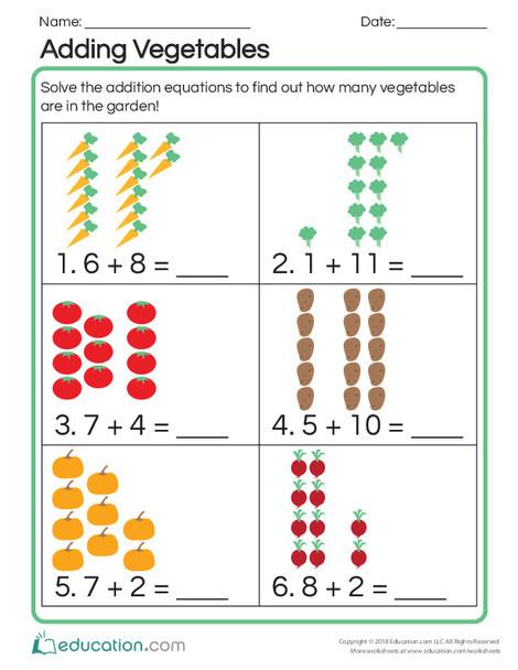 Kindergarten Math Worksheets: Adding Vegetables