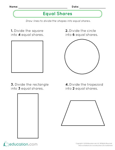 First Grade Math Worksheets: Fractions as Equal Shares