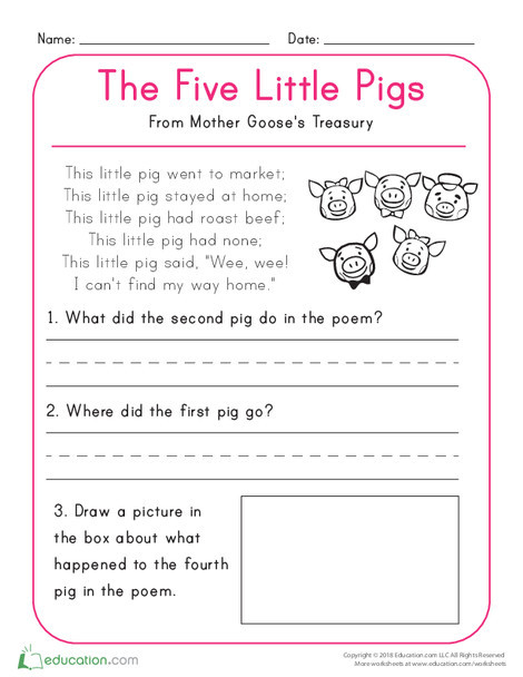 Kindergarten Reading & Writing Worksheets: The Five Little Pigs