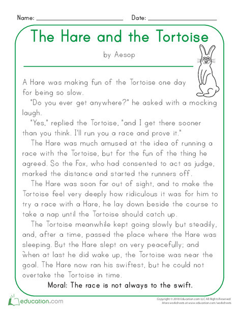 Kindergarten Reading & Writing Worksheets: The Hare and the Tortoise