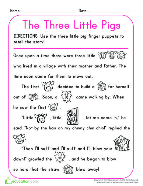 Kindergarten Reading & Writing Worksheets: The Three Little Pigs