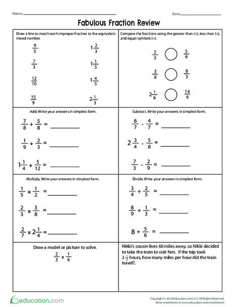 Fifth Grade Math Worksheets: Fabulous Fraction Review