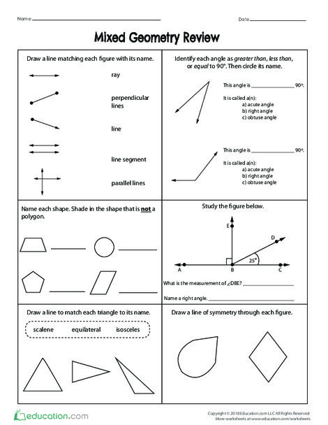 Fifth Grade Math Worksheets: Mixed Geometry Review