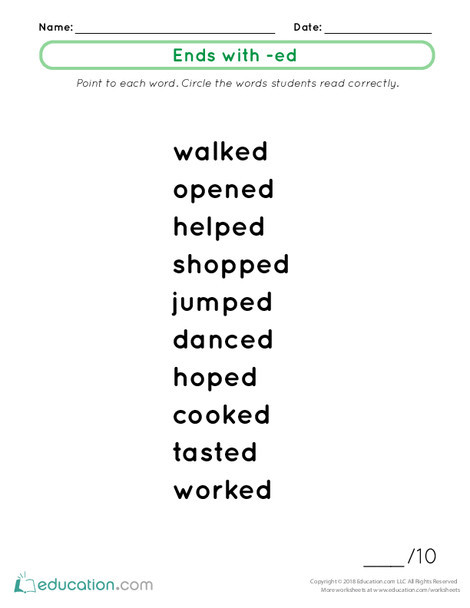 First Grade Reading & Writing Worksheets: Ends with -ed