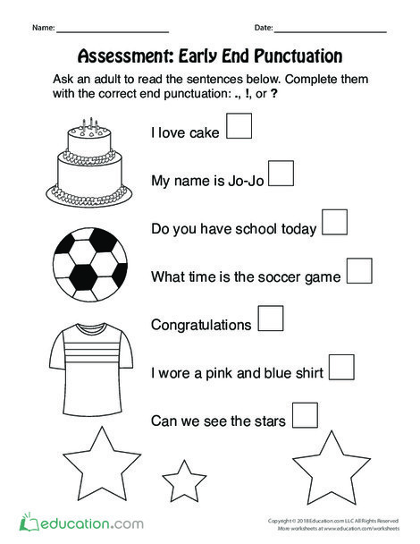 Preschool Reading & Writing Worksheets: Assessment: Early End Punctuation
