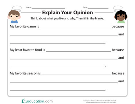 Second Grade Reading & Writing Worksheets: Explain Your Opinion