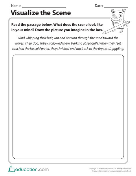 Second Grade Reading & Writing Worksheets: Visualize the Scene