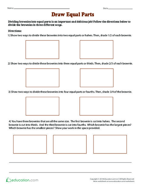 Second Grade Math Worksheets: Draw Equal Parts