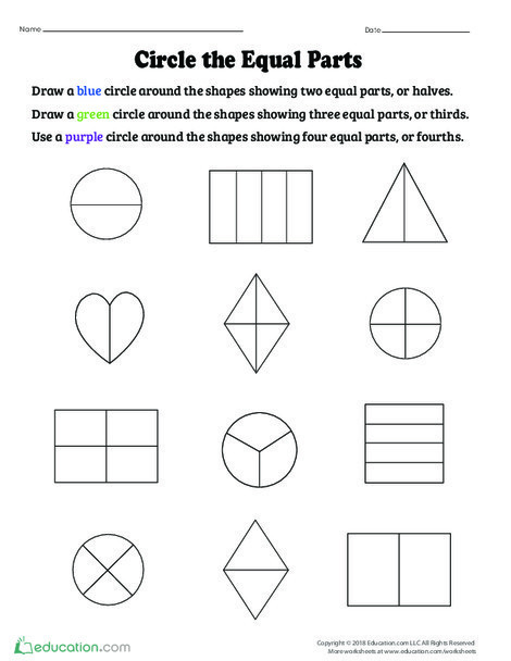 Second Grade Math Worksheets: Circle the Equal Parts