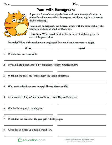 Fifth Grade Reading & Writing Worksheets: Puns with Homographs