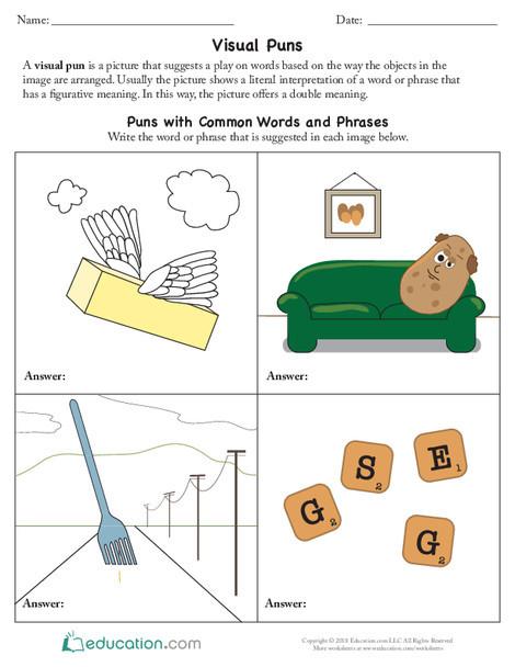 Fifth Grade Reading & Writing Worksheets: Visual Puns