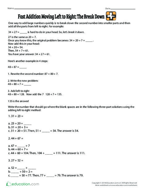 Third Grade Math Worksheets: Fast Addition Moving Left to Right: The Break Down