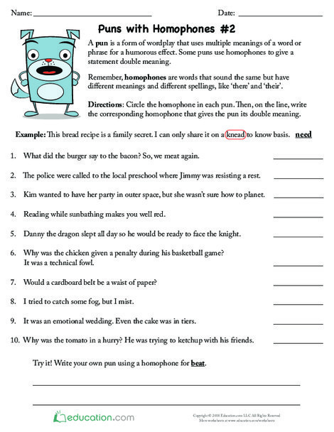 Fifth Grade Reading & Writing Worksheets: Puns with Homophones #2