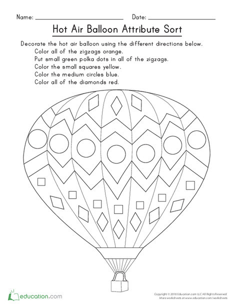 Kindergarten Math Worksheets: Hot Air Balloon Attribute Sort