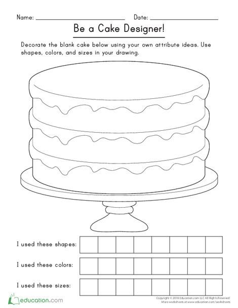 Kindergarten Math Worksheets: Be a Cake Designer!