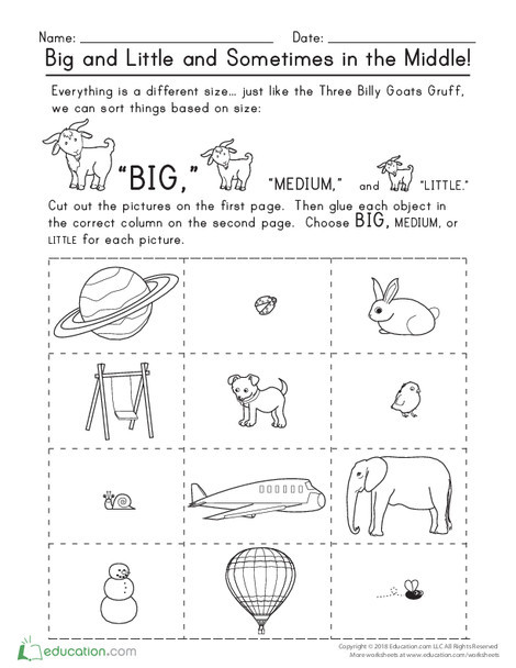 Kindergarten Math Worksheets: Big and Little and Sometimes in the Middle!