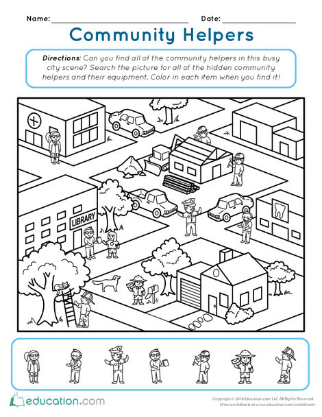 Kindergarten Reading & Writing Worksheets: Community Helper Hunt