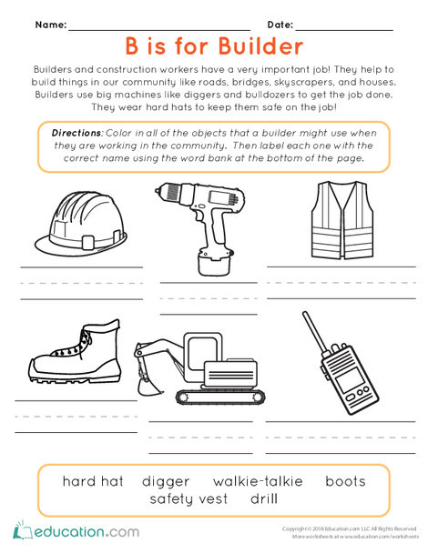 Kindergarten Reading & Writing Worksheets: B is for Builder